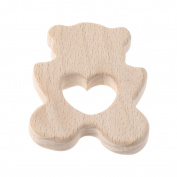 OTGO Baby Wooden Teething Relief Toy Baby Infant Nature Organic Polar Bear Nursing Holder Teether