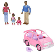 You & Me Happy Together Family- African American (Dad, Mom, Daughter, and Baby) with Happy Together Minivan