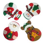8 PCS Santa Claus Snowman Elk Style Utensil Knives Forks Holder Cutlery Bag Pouch Christmas Decor Tableware Supplies