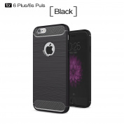 iPhone 6 Plus Case,iPhone 6s Plus Case,DAMONDY Brushed Armour Resilient Shock Absorption Carbon Fibre [Wiredrawing Series][SOFT] Full Protection Phone Case for iPhone 6 Plus/6s Plus-Black