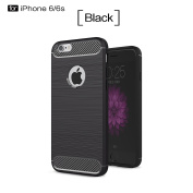 iPhone 6S Case,iPhone 6 Case,DAMONDY Brushed Armour Resilient Shock Absorption Carbon Fibre [Wiredrawing Series][SOFT] Full Protection Phone Case for Apple iPhone 6 / 6S-Black