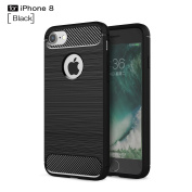 iPhone 8 Case,iPhone 7 Case,DAMONDY Brushed Armour Resilient Shock Absorption Carbon Fibre [Wiredrawing Series][SOFT] Full Protection Phone Case for Apple iPhone 8 (2017) / iPhone 7 (2016)-Black