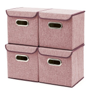 Storage Boxes [4-Pack] EZOWare Linen Fabric Foldable Basket Cubes Organiser Bin Box Containers Drawers with Lid - Wine For Office Nursery Bedroom Shelf