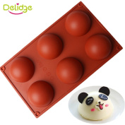 Delidge Silicone 5 Holes/6 Holes Domed Round Shape Cake for Hemispherical Chocolate Jelly Pudding Baking Mould 3D Round Fondant Chocolate Soap Pudding Ice Cookie Cake Candy Mould Baking Tools