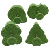 Cake Mould, Outgeek 4Pcs Christmas Mould 3D Plastic Mini Baking Mould for Biscuit Chocolate (Random Colour)