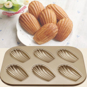 Ecosin Baking Pan Shells 6 Cups Cake Carbon Steel Nonstick Bakeware Pan Tray Mould
