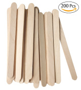 PuTwo Ice Cream Sticks 200Pcs Natural Wooden Treat Sticks Freezer Pop Sticks 11cm Length Wooden Sticks for Ice Cream Bars