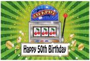1/2 Sheet - 50th Birthday Las Vegas Casino Slot Machine - Edible Cake/Cupcake Party Topper