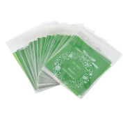 Souarts Green Bow-knot Self Adhesive Merry Christmas Cookie Candy Package Cellophane Bags100pcs