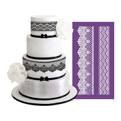 AK ART KITCHENWARE Laciness Cake Mesh Stencil for Royal Icing Fabric Lace Cake Stencil Decorating Tools Fondant Mould Lace Mat Baking & Pastry Tools Bakeware Cake Border Stencils Fondant Moulds MST-02