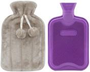 Premium Classic Rubber Hot Water Bottle and Luxurious Faux Fur Plush Fleece Cover w/ Pom Pon Decor