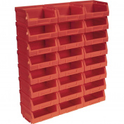 Sealey TPS124R Plastic Storage Bin 105 x 85 x 55mm - Red Pack of 24