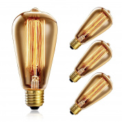Heofean 4 Pack Vintage Light Bulb 40W, E27 Edison Bulb ST64 Retro Light Bulb (Old Fashioned Style), Squirrel Cage Tungsten Filament Glass Antique Lamp | 2700K