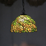 30cm Vintage Lush Leaves Stained Glass Tiffany Ceiling Lamp Pendant Lamp Living Room Light Hallway Lamp