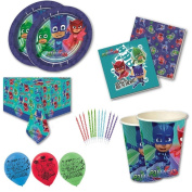 PJ Masks Party Tableware Children's Birthday Party Kit for 8, 16, 24, 32 - Free Plain Balloons and Candles