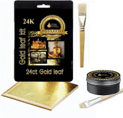 Gold leaf Kit ~ 15 large Gold sheets, size, brush. Gilding Crafts Design
