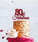 80 & Fabulous - 80th Birthday Cake Topper - Swirly - Glitter Dark Pink