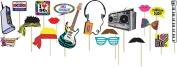 Adults Fancy Fun Party Decorations I Love 80s Photobooth Props Kit 18 Piece