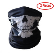 2 Pieces Motorcycle Face Skull Mask Half Face Motorbike Neck Headwear Outdoor Ski Skull Party Masks Sport Halloween Mask for Bike Motor Cycling