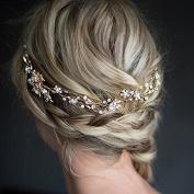 Fablcrew Fashion Hair Vine Band Pearl Diamond Bride Headdress Wedding Jewellery Hand Hair Band Golden