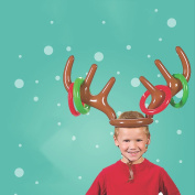 Christmas Party Inflatable Reindeer Antler Toss Game Hat with Rings Family Kids Office Xmas Fun Games by D & & R