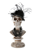 Large Halloween Bust of Skull with Bowler Hat