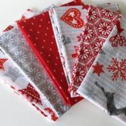 CHRISTMAS FABRIC BUNDLE - Scandi Red - Bundle - VISFB14 - 6 Fat Quarters each 55 cm x 50 cm - 100% Cotton