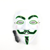 V for Vendetta LED Mask Guy Fawkes Anonymous Mask Halloween Light Up Unisex Mask 8 Colours With EL Glowing Wire