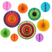 Party Decoration 6Pcs Colourful Fiesta Paper Fans Tissue Paper Honeycomb Balls Decoration for Birthday Wedding Home Party Supplies Foldable Paper Decorations