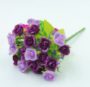 Visork Artifical Rose Flower Floral Bridal Bouquet Silk Flower Decoration Bouquet For Weeding Party Home Decor Purple