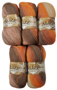 5 x 100 g Alize with Mohair Knitting Wool Gradient Brown Terracotta Beige # 4741 Knit and Crochet Knitting Wool 500 g