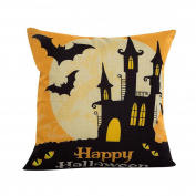 Cushion Cover, Keepwin Happy Halloween Pillowcase Covers Decorative Cotton Linen Pillow Case Covers for Party Sofa Bedroom