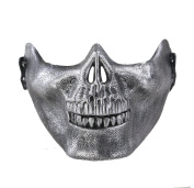 Visork Skull Face Mask Skeleton Airsoft Paintball Half Face Protect Gear Mask Face Cover For Cosplay Halloween Silver