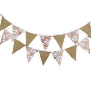 Wicemoon 2.9M/9.5 Feet Linen Triangle Banner Flags Vintage Style Pennant Garland Bunting Decoration for Wedding, Birthday Party, Bridal Showers, Baby Shower
