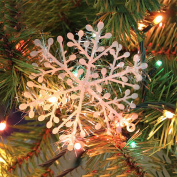 Snowflakes Decorations, JETTINGBUY 30 Pieces Christmas Plastic Snowflake Ornaments Tree Hanging Ornaments Festival Party Gift