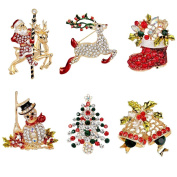 Christmas Brooches - JETTINGBUY 6PCS Crystal Festival Christmas Brooch Pin for Party Decoration Gift
