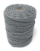 Colour Macrame Craft Cord Twisted Rope 100% Dyed Cotton 1KG Reel – LIGHT GREY piping cord, washing line, piping cord, furniture wrapping, plant hangers, wall hangings