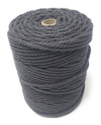 Colour Macrame Craft Cord Twisted Rope 100% Dyed Cotton 1KG Reel – DARK GREY piping cord, washing line, piping cord, furniture wrapping, plant hangers, wall hangings