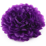 Dark Purple 20 CM Wedding Paper Pompoms Pom Poms Flower Ball Tissue Christmas Bridal Shower Nursery Garland Party Holiday Ornaments DIY Hanging Decoration Pack of 7