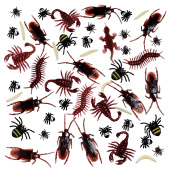 BBTO 156 Pieces Plastic Realistic Bugs, Fake Cockroaches, Spiders, Worms and Flies for Halloween Party and Decoration