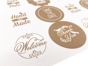 200PCS Love Heart Shape Label Envelopes Stickers Retro Metallic Thank You Kraft Paper Stickers Card DIY Decorative Adhesive Label Decal For Wedding Party Gift Packaging Bake Decoration