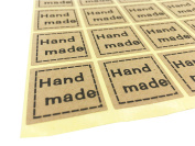 320PCS Hand Made Label Envelopes Stickers Retro Metallic Thank You Kraft Paper Stickers Card DIY Decorative Adhesive Label Decal For Wedding Party Gift Packaging Bake Decoration