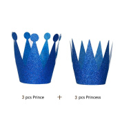 UPXIANG 6Pcs Birthday Party Cone Hats, Kids Party Celebration Paper Hats Cap Crown for Children and Adults, Cute Prince Princess Birthday Festive Party Decoration