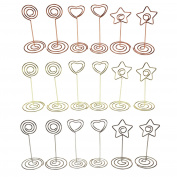 Place Card Holders, LJY 18 Pieces Assorted Shapes & Colours Table Number Name Card Photo Stands Memo Clips for Weddings Party Gatherings