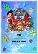 Paw Patrol Thank You For Coming Birthday Party Cards - Rainbow Paw Print Design - Party Supplies / Accessories (Pack of 12 A6 Thank You Cards)