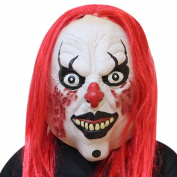 Halloween White Demon Killer Clown Ghost Adult Face Mask With Hair Realistic Printed Costume Mask