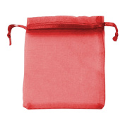 Classic Large Organza Favour Pouches - Wedding Voile Bags Drawstring Chiffon [Red, 25 Bags]
