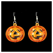 Light Up Flashing Pumpkin Earrings Halloween Dress up Girls Ladies Earrings - Swan household ®