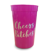 Cheers Bitches Hen Party, Girls Night Out Drinking Cups - Pack Of 10 Hot Pink & Silver