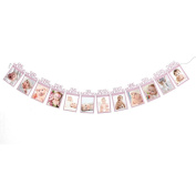 Keepwin Baby Growth Record 1-12 Mouth Photo Garland Rope Banner - Great for 1st Birthday Decorations, Best Gift for Baby